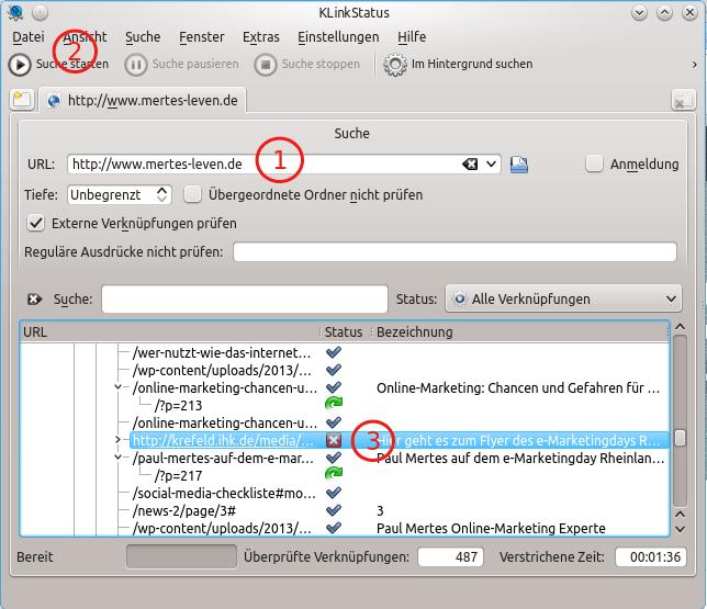 Screenshot von KLinkstatus. Die Software läuft unter Linux und spürt Broken Links auf.