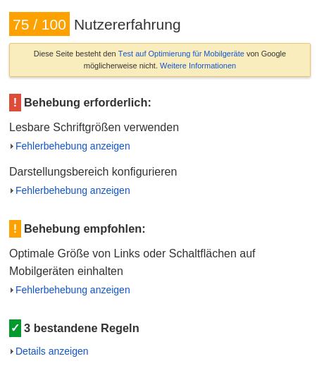 Drupal PageSpeed-Test Mobil 2