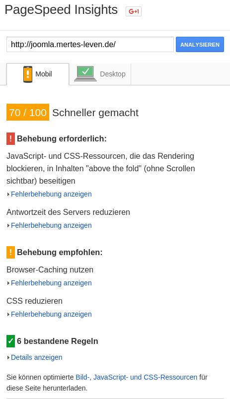 Joomla PageSpeed-Test Mobil 1