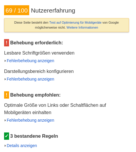 TYPO3 PageSpeed-Test Mobil 2